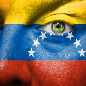venezuela 300x300 Flag painted on face with green eye to show venezuela support