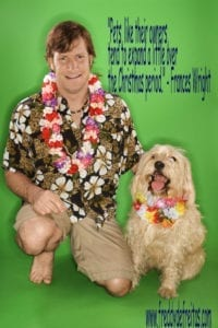 quotesodfady1229 200x300 Man and dog wearing leis.