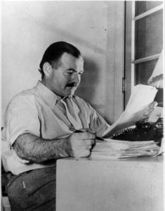 Write hard and clear about what hurts. 235x300 Ernest Hemingway.   [ca. 1930]