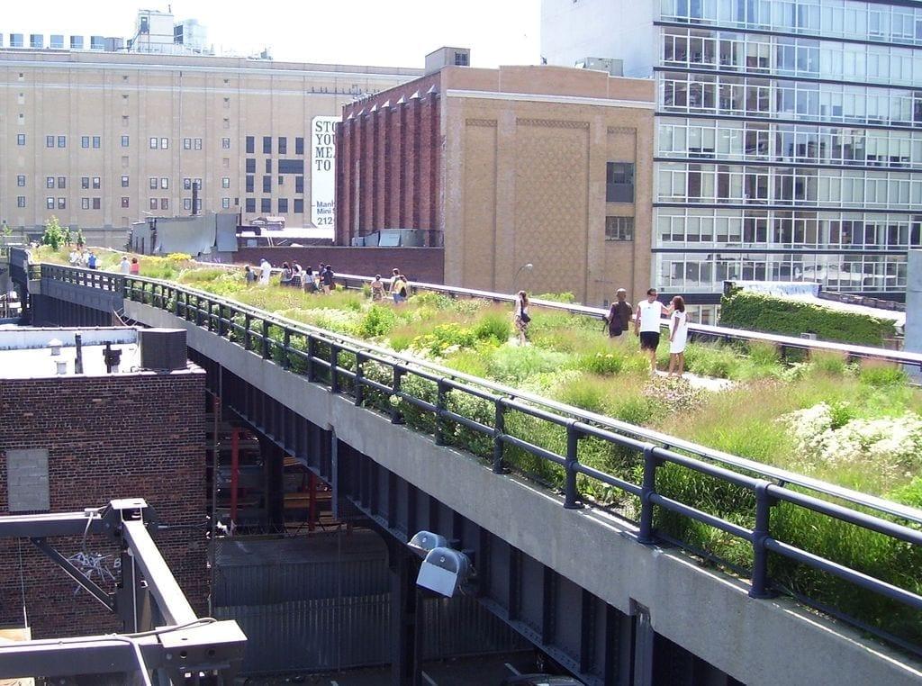 O projeto High Line  foi concluído em Nova Iorque